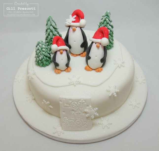 Nigella Christmas Cake Decoration : Punch art penguin and a Happy New Year?? Lily-by-Gilly