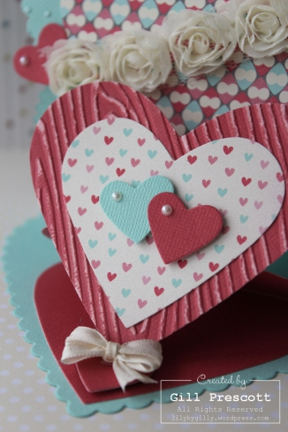 Valentine double easel card close up