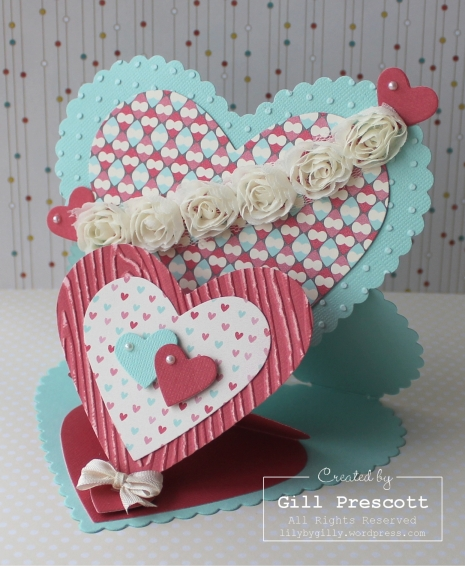 Valentine double easel card side on