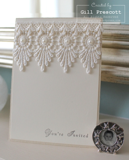 Wedding invitation with vintage lace and pearls