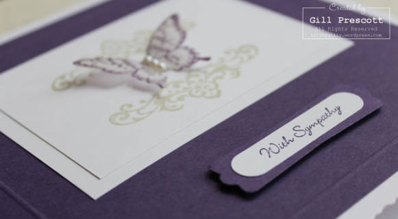 Butterfly sympathy card close up