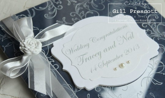 Wedding card with acetate close up