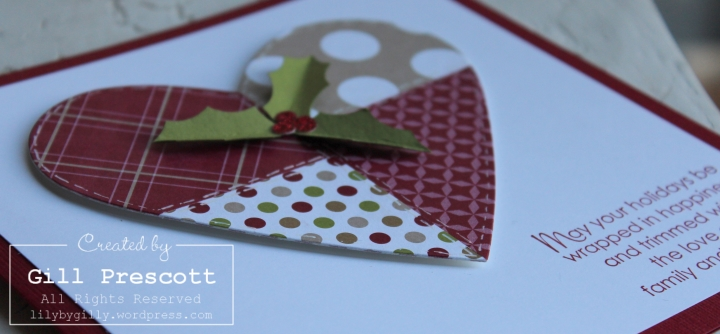 Patchwork Christmas heart close up