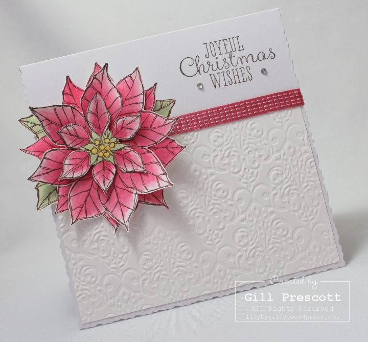 Joyful Christmas by Stampin Up ribbon and rhinestones