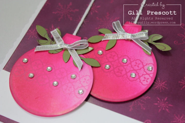 Ornament keepsakes from Stampin Up baubles close up