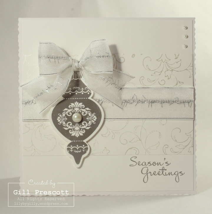 Silver embossed ornament keepsakes by Stampin Up