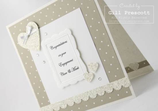 Stampin Up engagement card inside
