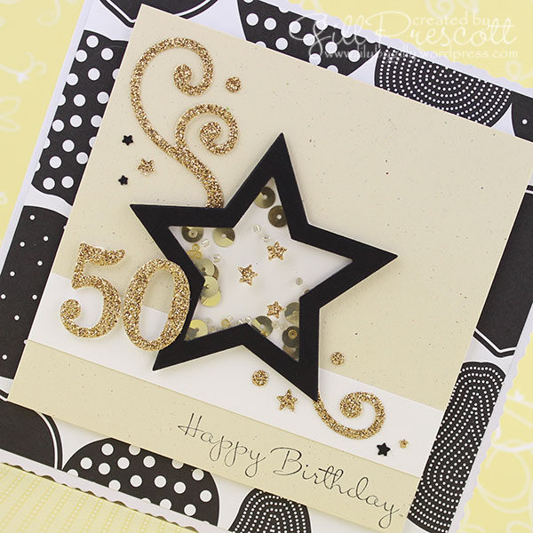 50th birthday shaker card with glimmer paper
