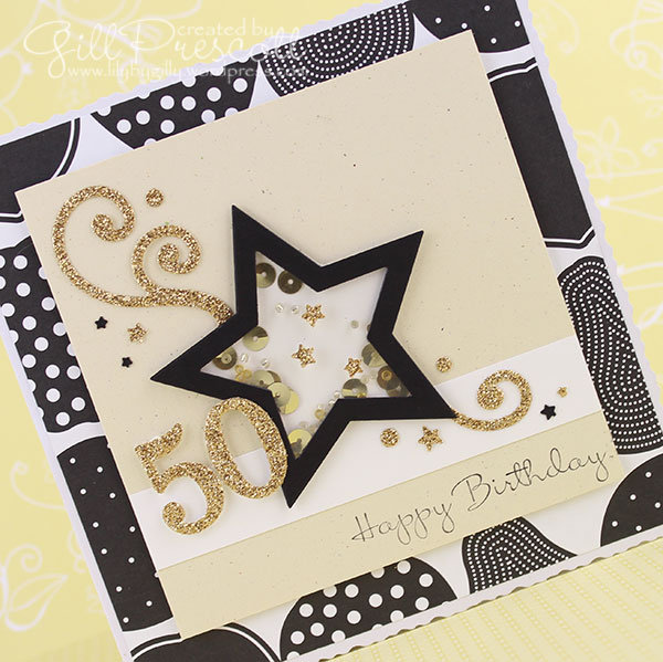 50th birthday card shaker card with gold sequins