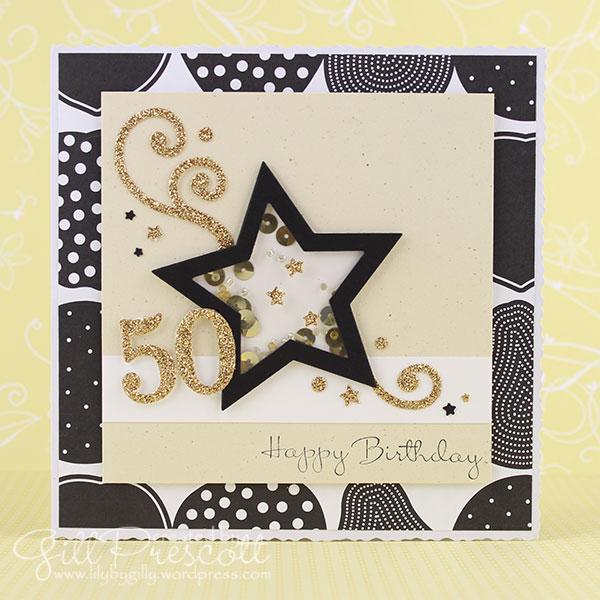 50th birthday shaker card