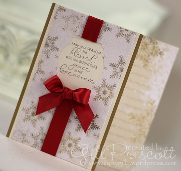 Christmas blessings stamp set by Stampin Up ribbon detail