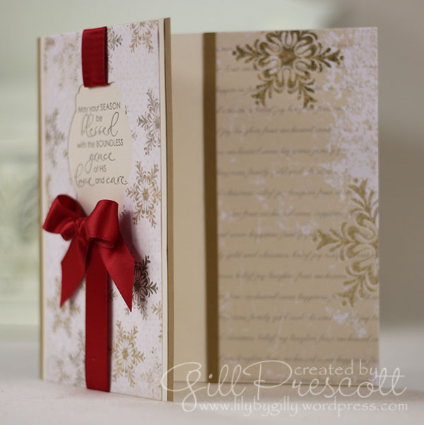 Christmas blessings stamp set by Stampin Up peek inside the card