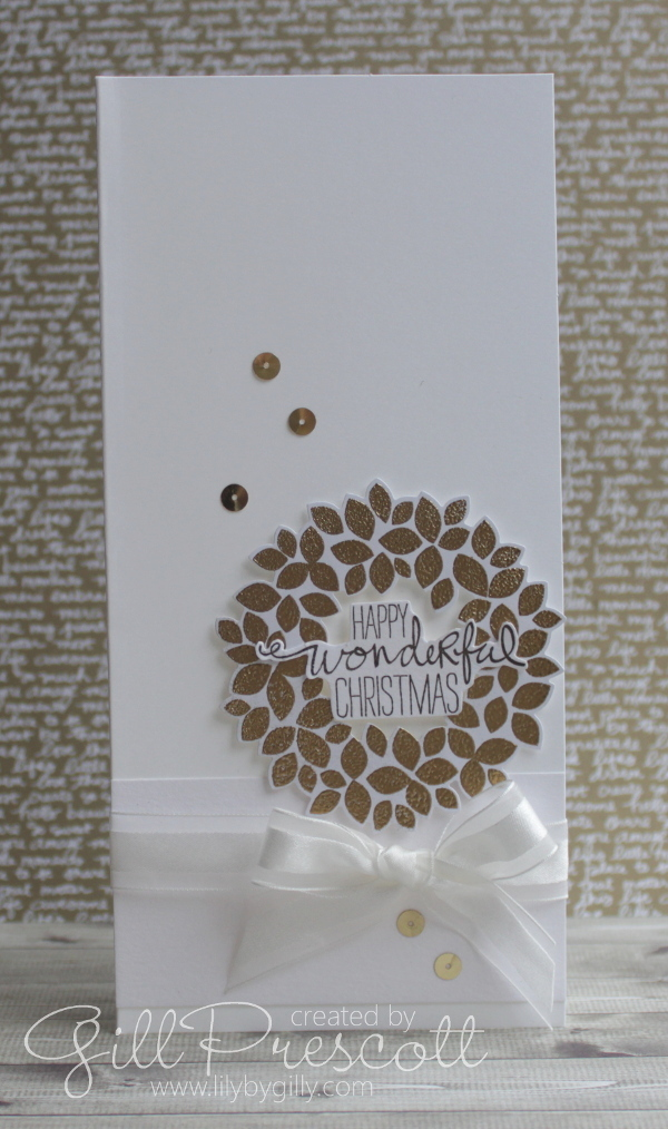 White and gold wreath Christmas card